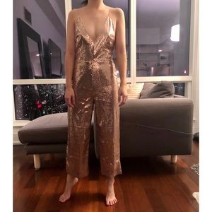 Asos rose gold sequin New Years culotte jumpsuit